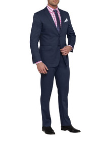 Mens Euro Fit Nested Suit Mid Blue Birds Eye