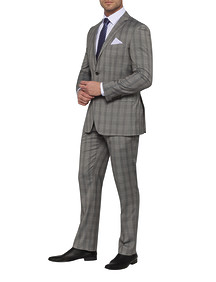 Mens Euro Fit Nested Suit Grey Prince of Wales Check