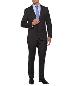 Mens Euro Fit Nested Suit Charcoal Window Pane