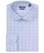 Euro Tailored Fit Shirt Blue Window Contrast Check