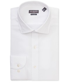 Euro Tailored Fit Shirt White Textured Dobby