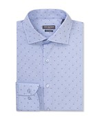 Euro Tailored Fit Shirt Blue Stripe and Print