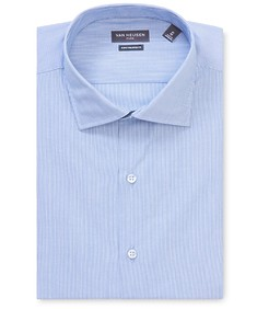 Euro Tailored Fit Shirt Blue Thin Stripe
