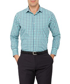 Van Heusen Mens Euro Fit Shirt Green Check