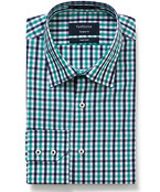 Euro Tailored Fit Shirt Green Check