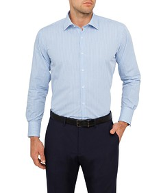 Van Heusen Mens Euro Fit Shirt Blue Small Check