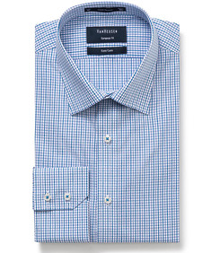 Euro Tailored Fit Shirt Blue Small Window Check