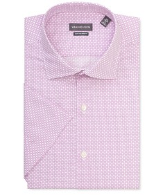 Euro Tailored Fit Short Sleeve Shirt Shirt Purple Diamond Print