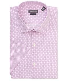 Euro Tailored Fit Short Sleeve Shirt Shirt Purple Diamond Print