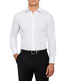 Mens European Fit Shirt White Self Stripe