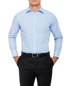 Mens European Fit Shirt Blue Medium Check