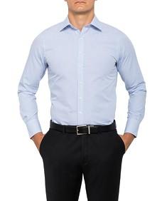 Mens European Fit Shirt Blue Check