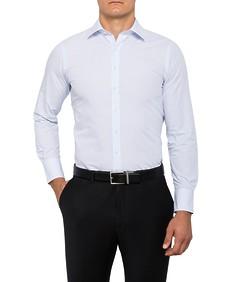 Mens European Fit Shirt Blue Thin Stripe