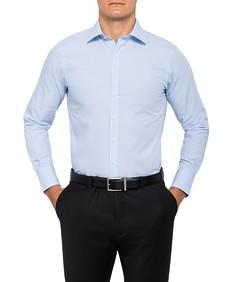 Mens European Fit Shirt Blue Small Check