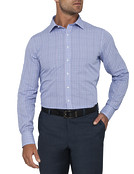 Mens Euro Fit Shirt Blue Purple Check