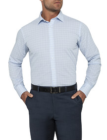 Mens Euro Fit Shirt Blue Navy Window Checks