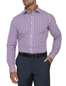 Mens Euro Fit Shirt Pink Blue Check