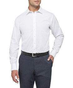 Mens Euro Fit Shirt White with Self Threaded Pattern