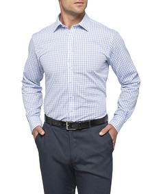 Mens Euro Fit Shirt Blue and White Plaid Check