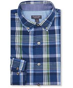 Never Tuck Slim Fit Long Sleeve Shirt Navy Green Plaid
