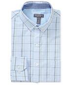 Never Tuck Slim Fit Long Sleeve Shirt Blue Plaid