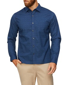 Never Tuck Slim Fit Long Sleeve Shirt Navy Paisley