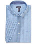 Never Tuck Slim Fit Short Sleeve Shirt Tattersall Plaid