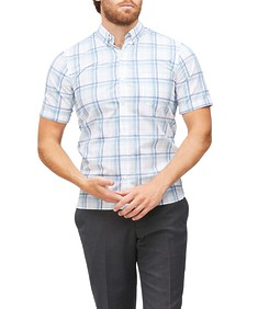 Never Tuck Slim Fit Short Sleeve Large Plaid