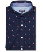 Never Tuck Slim Fit Short Sleeve Shirt Flamingo Print