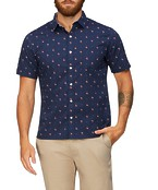 Never Tuck Slim Fit Short Sleeve Shirt Flamingo Print