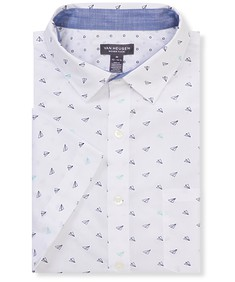 Never Tuck Slim Fit Short Sleeve Shirt Airplane Print