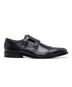 Double Monk Strap Brogue Black