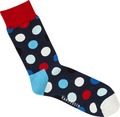 Mens Socks Red Blue Polka Dot Print