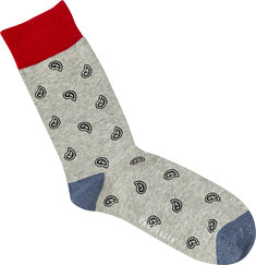Mens Socks Paisley Grey Blue Print
