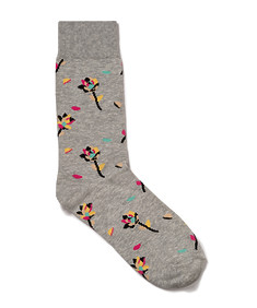Mens Socks Grey with Flowers