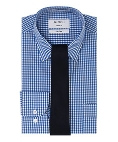 Mens Gift Pack Blue Check Shirt and Navy Tie