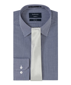 Mens Gift Pack Navy Check Shirt with Silver Tie