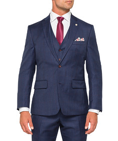 Black Label Euro Tailored Fit Suit Jacket Ink with Check