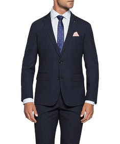 Euro Tailored Commuter Suit Jacket Navy Check
