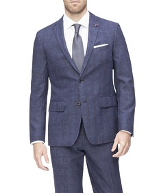 Euro Tailored Suit Jacket Blue with Red Check