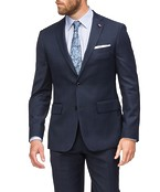 Euro Tailored Fit Suit Jacket Navy Glen Check