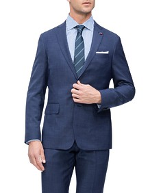 Euro Tailored Fit Suit Jacket Denim Blue Birdseye