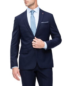 Euro Tailored Fit Suit Jacket Navy Contrast Check