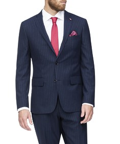 Euro Tailored Suit Jacket Navy Pinstripe