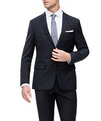 Euro Tailored Fit Suit Jacket Charcoal Window Pane Check