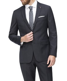 Euro Tailored Suit Jacket Charcoal Textured