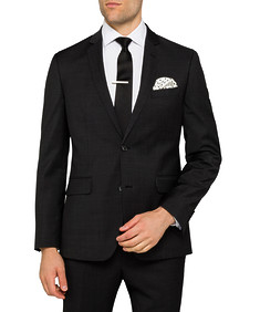 Black Label Euro Tailored Fit Suit Jacket Charcoal