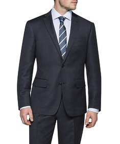 Black Label Euro Fit Suit Jacket Charcoal with Blue Dot