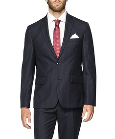 Euro Tailored Fit Suit Jacket Navy Vertical Stripe