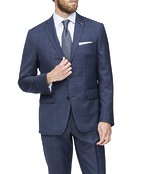 Euro Tailored Fit Suit Jacket Navy Brown Check